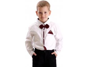Рубашка мальчик №209 белая с бордовым