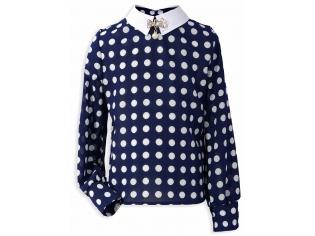 Блуза рукав пуговица синяя