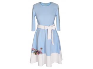Платье детское № 1696-1 бело-голубое
