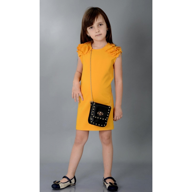 Платье № 1540 горчичное
