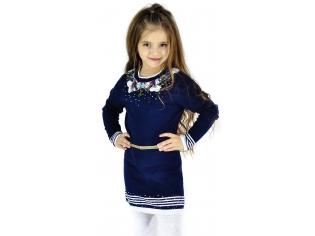 Платье вязаное девочка №0812216 тёмно-синий