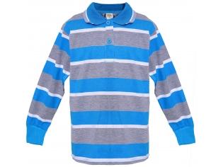Батник мальчик полоска серо-голубой