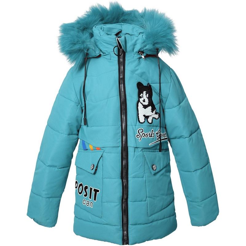 Куртка девочка №F-68 бирюзовая