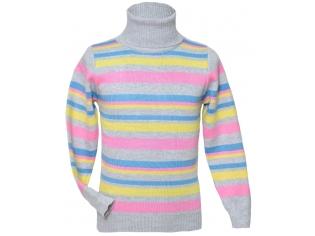 Свитер №Dada разноцветная полоска на сером