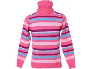 Свитер №Dada разноцветная полоска на розовом