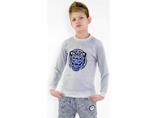 Батник мальчик тигр серый