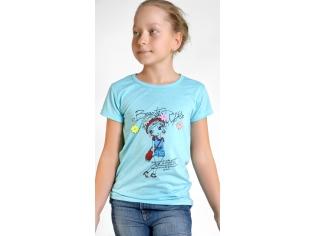 Футболка на девочек цвет голубой