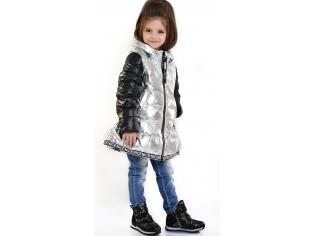 Куртка девочка №8817 серебряная