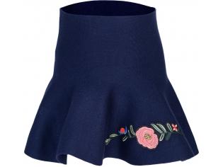 Юбка синяя цветы и бант