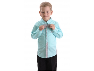 Рубашка мальчик №209 бирюзовая