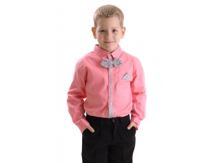 Рубашка мальчик №209 коралловая