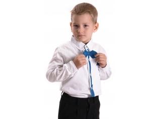 Рубашка мальчик №209 белая с голубым